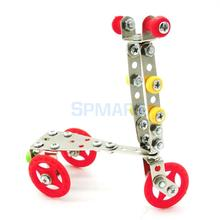 Assembly Metal Scooter Model Toy Building Blocks Kids Children Educational Learning Toy LX003(China)