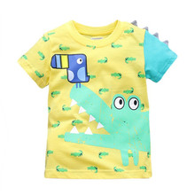 Little maven brand children clothing 2017 new summer baby boy clothes Cotton lovely crocodile bird print t shirt 60237