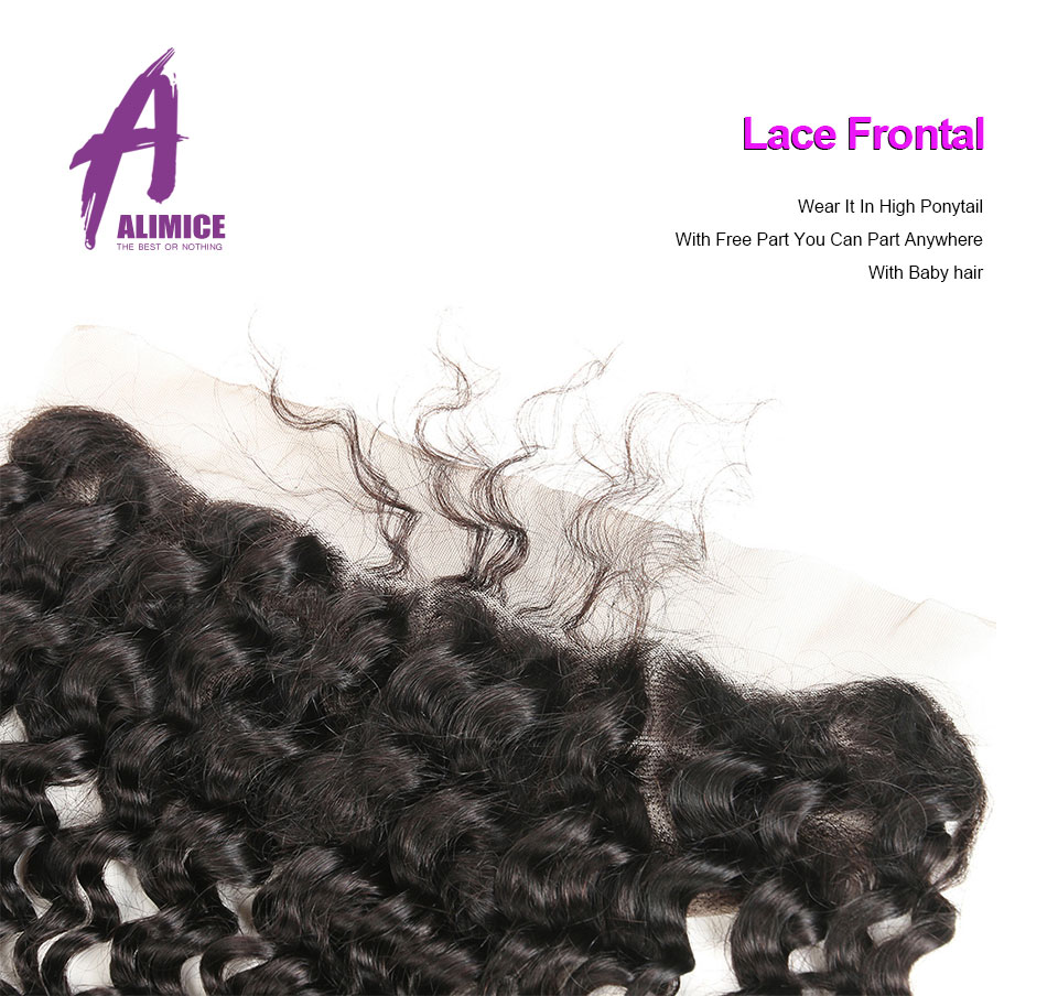 ALIMICE Hair Indian Deep Wave Hair 13X4 Ear To Ear Lace Frontal Closure 100% Non Remy Natural Color Human Hair Closure 10-24Inch (2)