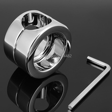 Buy Stainless Steel Penis Delay Ring Metal Ball Weight Scrotum Ring Locking Cock Ring Ball Stretchers Men Testicular Restraint