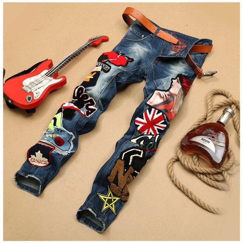 Mens Patchwork Denim Blue Jeans Locomotive Pants Embroidery Beauty Badge Cool Stylish Design Skinny Straight Slim Pants 29-38Одежда и ак�е��уары<br><br><br>Aliexpress
