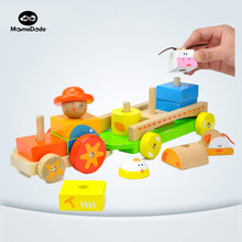 baby montessori wooden building block pull car toy early childhood early educational toys safety farm animal for children gift