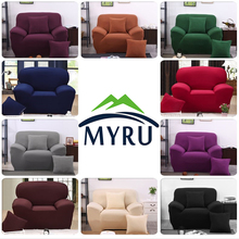 MYRU Solid Color All-inclusive Sofa Towel Slipcover Stretch Fabric Elastic Sofa Cover Single/Two/Three/Four-seater Home Decor(China)