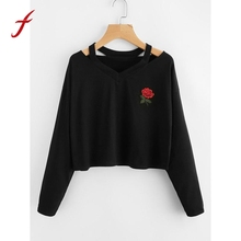 Buy Fashion Womens Long Sleeve Sweatshirt Rose Printed Causal Tops Women Clothing Feminina Loose Jumper Sweats Warm Sweatshirts for $6.82 in AliExpress store