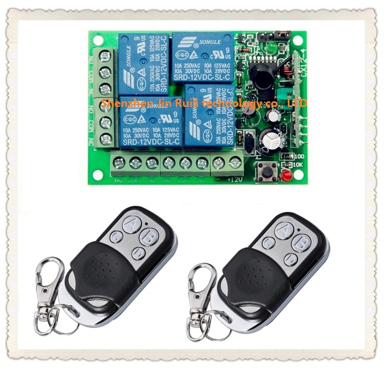 DC 12V 10A 4 channel RF Wireless Remote Control system 1 piece Receiver 2 piece waterproof Transmitter 315MHZ<br><br>Aliexpress