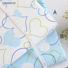 50*160cm 100% cotton fabric twill choose color Blue and white love cloth DIY patchwork Sewing kids pillow quilting fabrics