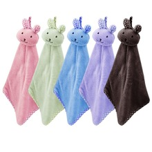 1Pcs Cartoon Animal Soft Plush Velvet Hand Towel Hanging Wipe Bathing Towel Kitchen Bathroom Nursery