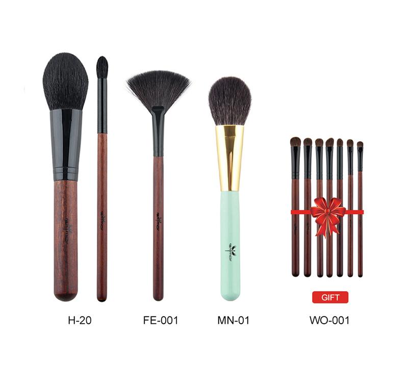 Anmor Acheter 3 Obtenir 1 Cadeau Professionnel Pinceaux de Maquillage Kit Poudre Blush Brosses de Ventilateur avec un cadeau fard à paupières brush set 3