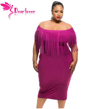 Dear Lover Vestido Robe Black/Rosy Short Sleeve Fringe Top Plus Size Dress Summer Big Women Clothing Large Size 2XL/3XL LC61055(China)