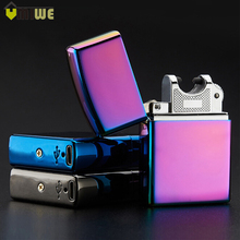 Electronic Cigarette lighter Windproof Metal USB Cigarette lighter Rechargeable Flameless Electric Arc Cigar Cigarette Lighter
