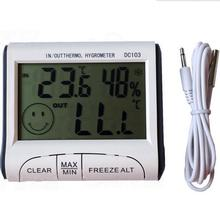 MAX/MIN values Temperature Humidity indoor/Outdoor Digital Thermometer Hygrometer Wired External Sensor Tester weather station(China)