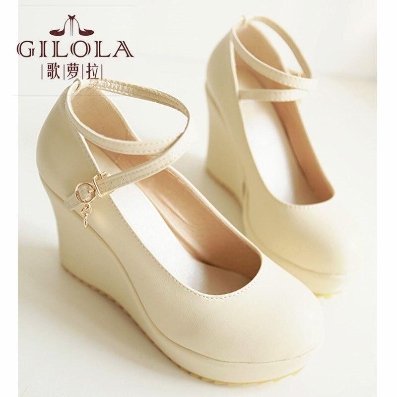 2017 new fashion wedding party platform wedge high heels women pumps spring summer autumn womens shoes woman best #Y0862302F<br><br>Aliexpress