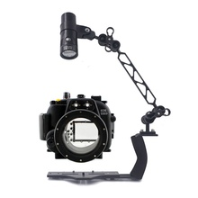 Underwater Waterproof Housing Diving Case for Canon 550D 600D 650D 70D 5D III Camera With Lighting Arm Bracket  Led Video Torch