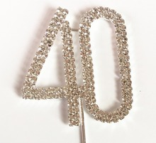 Happy 40th Birthday Wedding Anniversary party decoration kits 5 cm Number 40 Rhinestone Crystal Cake Topper