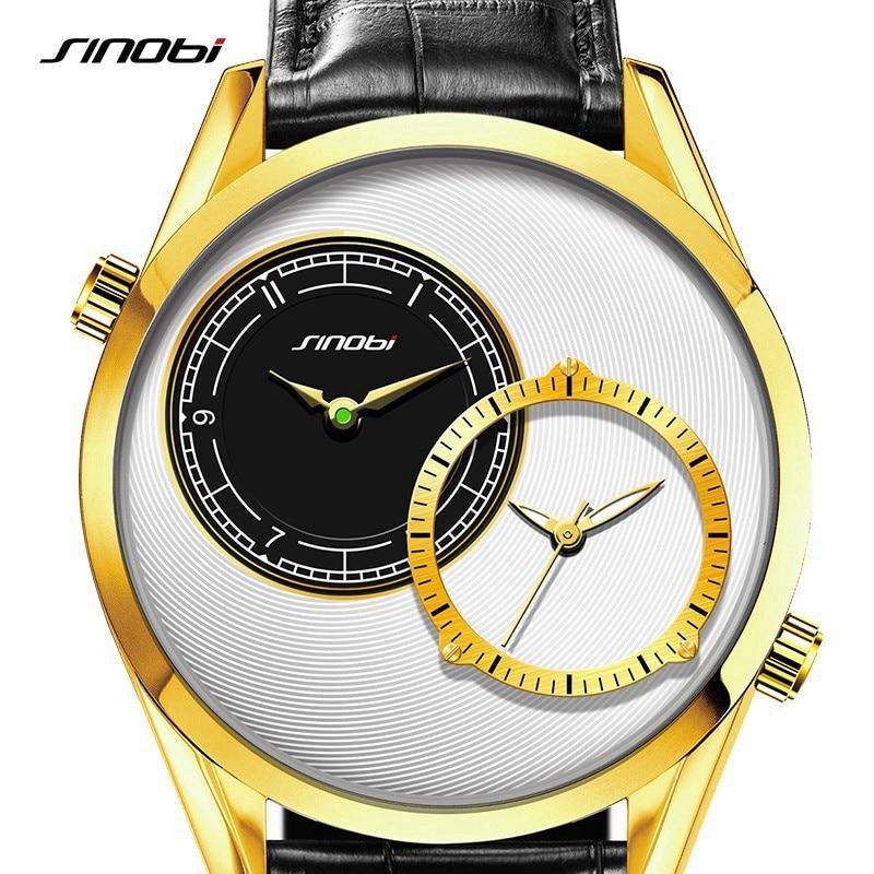 SINOBI Double Quartz Wristwatch for Leather Watch Mens Golden Fashion Wrist Watch Brand Males Clock relogio masculino 2017 new <br><br>Aliexpress