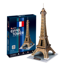 World famous building Eiffel Tower Cubicfun 3D Puzzle DIY Toy Construction paper Handmade jigsaw Puzzles For Kids Education(China)