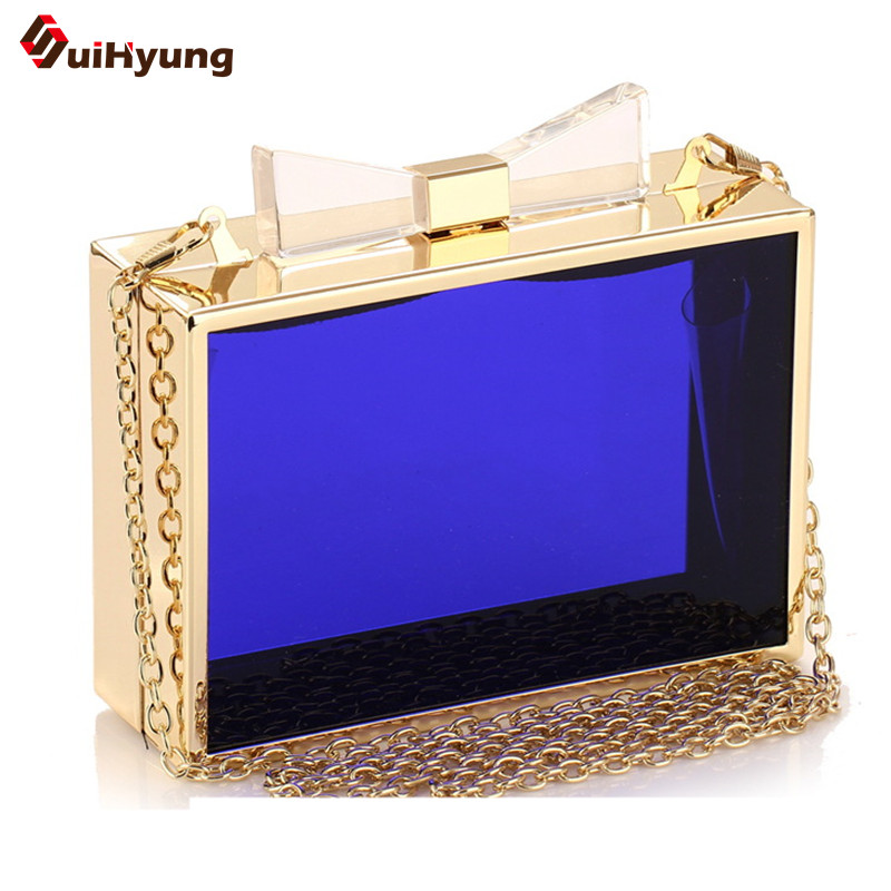 Hot Sell Newest Transparent Acrylic Clutch. Ladies Gold Frame Banquet Handbags Chain Crossbody Evening Bags Free Shipping<br><br>Aliexpress