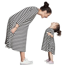 Family Matching Outfits baby girl and mom women dress spring girl dress kids pajamas stripe Mother and Girls family Clothing(China)