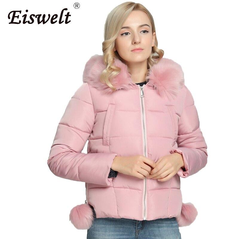 EISWELT New Fashion 5 Color Womens Winter Jackets Pompon Down Decorate with Faux Fur  Coat High Quality Outwear Women ClothingÎäåæäà è àêñåññóàðû<br><br>