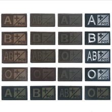Embroidery Woodland Olive Green Black Military Blood Type A+ B+ AB+ O+ Positive A- B- AB- O- Negative Hook Patch Armband Badges