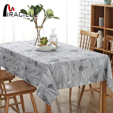 Miracille Europe Vintage Grey Art Wood Grain Craft Linen Tablecloth for Western Rectangular Bar Wedding Dinning Table Covers(China)