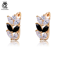 ORSA JEWELS 2017 Trendy Leaf Design Earrings Black&Clear Marquise Cut Zircon Earring Rose Gold Color for Women OME02