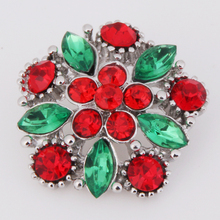 XH3384 christmas flower Metal Snap button Jewelry (fit 18mm 20mm snaps)(China)