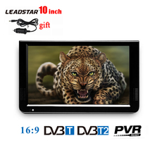 LEADSTAR 10 inch Portable TV Mini Digital Television With DVB-T DVB-T2 Tuner LED Monitor Video Media Player With USB AV TF CARD(China)