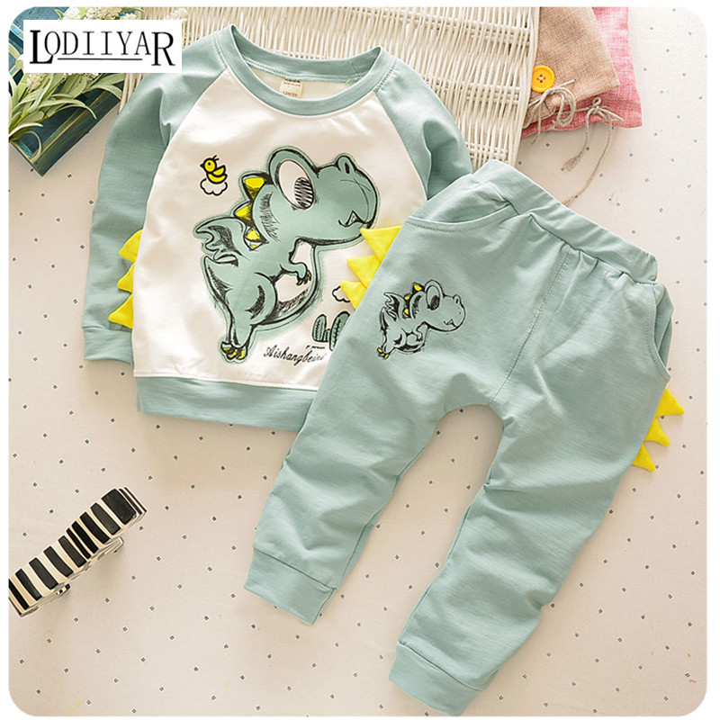 Animal Dinosaur Shark Style Boys Girls Clothes Suit, Top + Pants Childrens Clothes, Casual Cotton Long Sleeve Baby Clothing Set<br><br>Aliexpress
