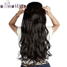 S-noilite Long Curly Clip in Hair Extensions High Temperature Fiber 24inch Hairpiece Extension Synthetic Hair Clips(China)