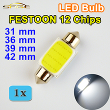 FESTOON COB 31mm 36mm 39mm 42mm LED Bulb 12 Chips C5W DC12V White Color Car Dome Light Auto Interior Lamp