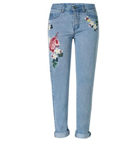 Plus Size Flower embroidery jeans female 3XL 4XL Light blue casual pants capris 2019 autumn winter Pockets straight jeans Women