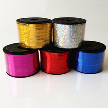 Hot 5mm wide 100 yards long laser balloon ribbon rope strap balloon tie flowers gift packing(China)
