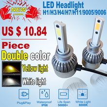NEW H7 H4 led Car Headlights Automobiles Headlamp Led Light Bulbs H1 H3 9005 9006 H11 Yellow white 6000K Fog Lamps car styling(China)
