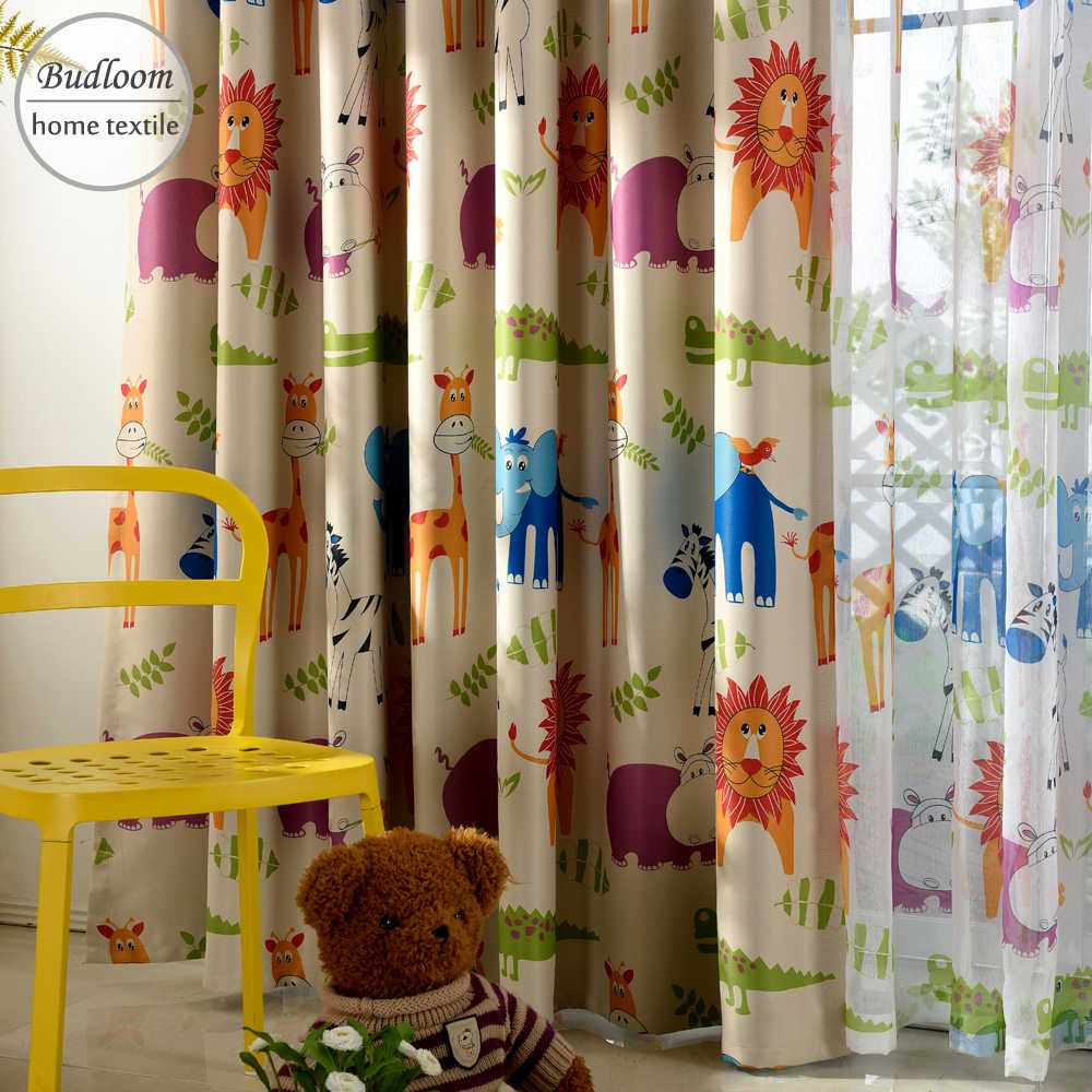 Cute Blackout Curtains For Living Room Curtains for Children Boys Girls Animated Cartoon lion giraffe elephant Window Drapes