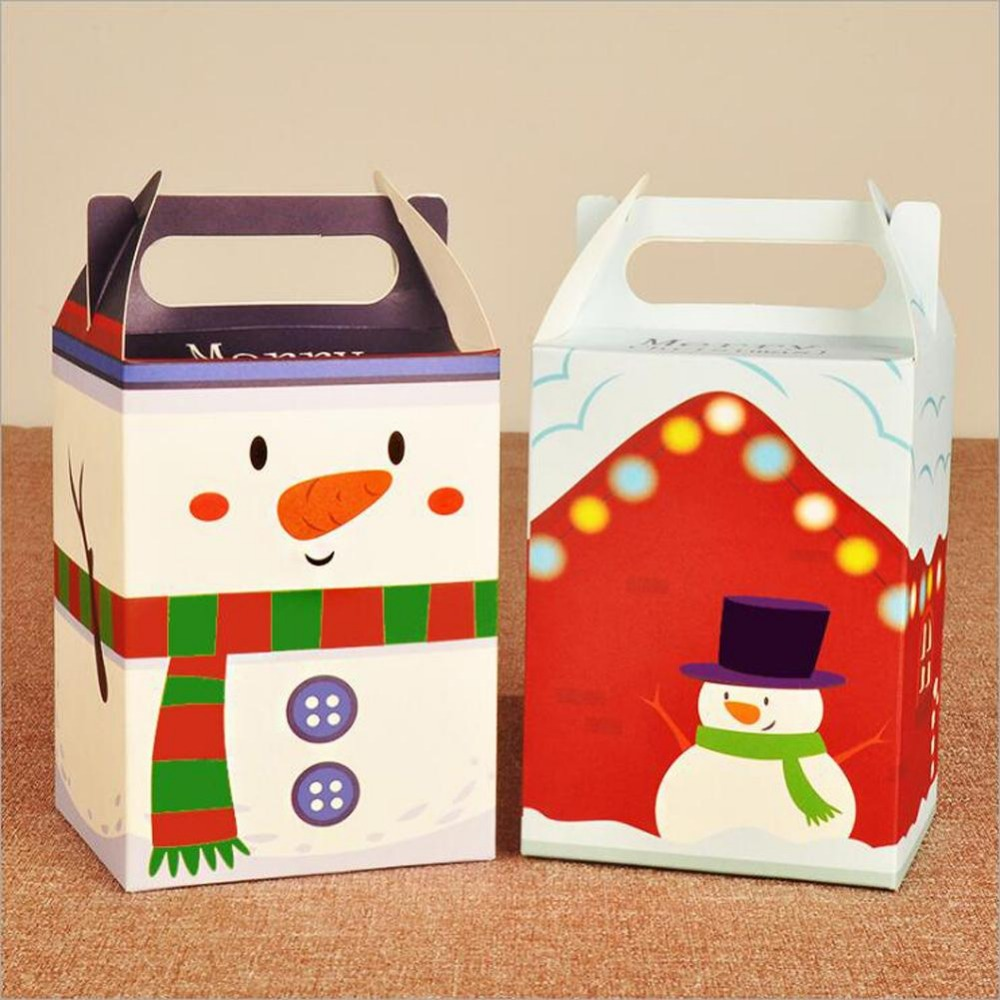 Fashion Snowman Pattern Paper Gift Box Asamento Caixa Corte Laser Candy Boxes Gift Bags Christmas Decoration R2