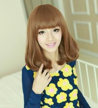 Hot Sale Korean Fashion Natural Synthetic Cheap Wavy Brown Short Bob Wigs With Bangs For Women Pop Hair