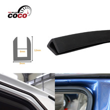 "12x9mm U pillar Channel 590""1500cm Black Car Truck Door Opening Rubber Protector Trim EPDM Seal Strip Waterproof dustproof #63(China)"