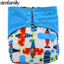 [simfamily] 1PC Reusable Bamboo Charcoal Cloth Diaper Waterproof One Size Pocket Diaper Double Gussets Charcoal Nappy Wholesale