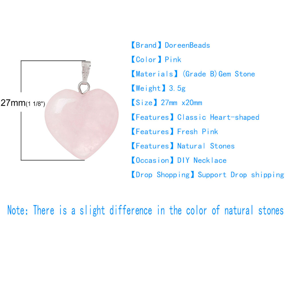 Doreenbeads Hot Fashion Women (Grade B) Created Rose Gem Stone Charm Pendants Heart Pink Jewelry Gift 1