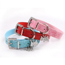 Puppy Dogs Collar Bell Rhinestone PU Leather Cat Supply Collars Pet Neck Strap Pet Supplies Small Animals Dog Collar Pet Shop(China)