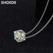 High Quality Square Beads Cube Crystal from Swarovski Elements Women Necklace Pendants Jewelry Fashion Chain Female Gift 23071