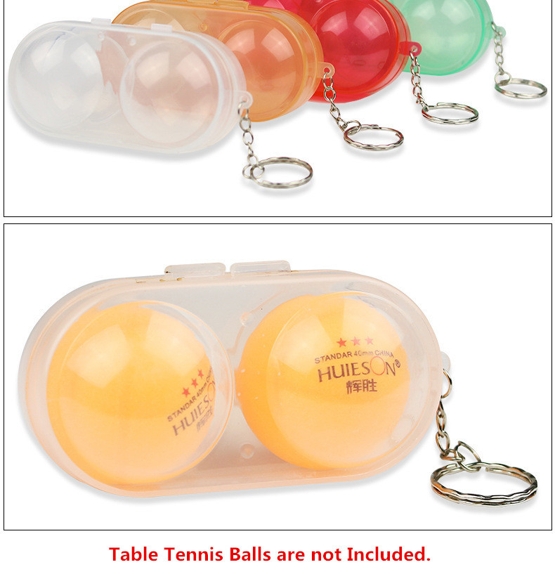 Huieson Table Tennis Ball Container Box Hard Plastic Case Ping Pong Ball Storage Box with Keychain Table Tennis Accessories (3)