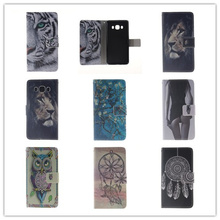 Flip PU Leather Case for Samsung galaxy J5 2016 J510 Stand Wallet Case Owl Tiger Lion Pattern Cover with Card Holder