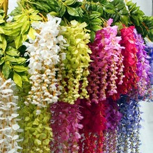12 pieces/lot Artificial Wisteria Flowers 72cm Emulation String Bean Curd Hanging Rattan Simulation Flower DIY Home Decor .D177(China)