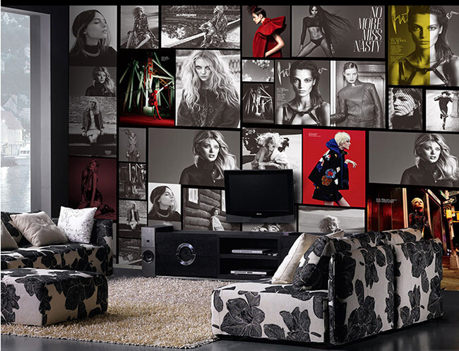 Custom photo  wallpaper, retro star posters murals for clothing store cafe bar setting wall papel DE parede <br>