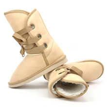 New Style Hot Autumn Winter Warm cheap shoes high snow boots artificial fur leather casual tied Bandage female Mid-calf shoes
