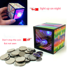 Funny Gadgets flash light up magic box piggy bank close up magic trick money box props coin disappear Toy Halloween Decorations(China)