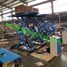 3Tons super-thin small scissor lift with mechanical self-lock and pneumatic release use for car lifting on concrete floor