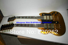 New Arrival Gold 3 Pickups 1275 Double Neck Electric Guitar Abalone Inlay Wholesale guitars
